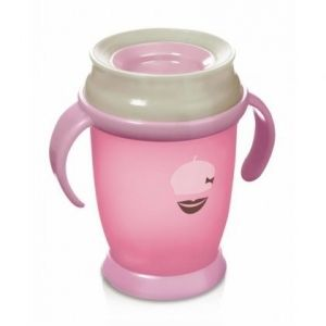 LOVI Нетечаща чаша Retro 360 градуса 250мл розова